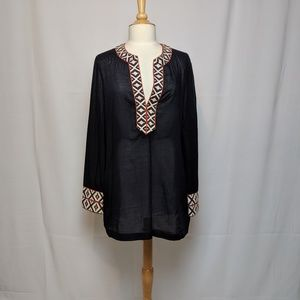 Tory Burch Navy Embroidered Tunic